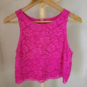FOREVER NEW Size 12 Pink Lace Crop Top